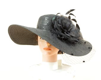 Black Derby Hat * Wide Brim Hat * Black Church Hat * Ascot Hat * Black Floral Hat * Formal Hat * Wedding Hat * Black Sequin Hat