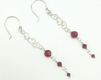 Sterling hearts and red crystal earrings, gift for her, valentine
