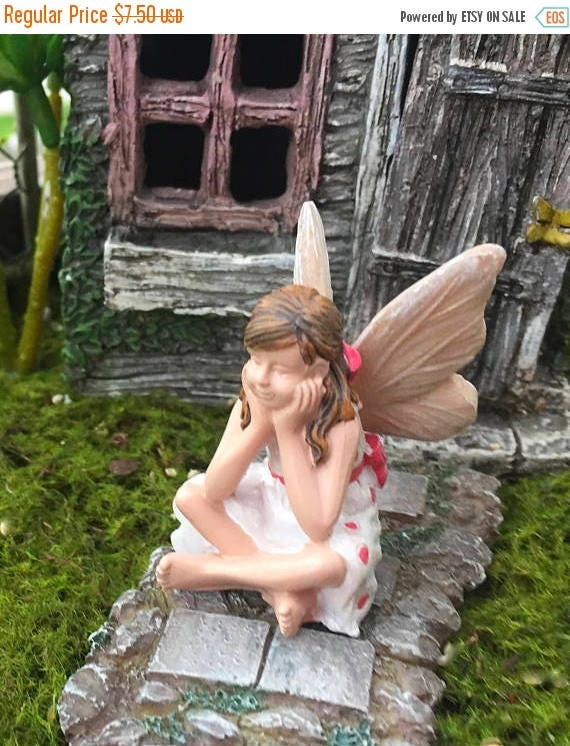 "SALE Fairy Garden Fairy Figurine,  ""Heidi"" , Sitting Fairy with Polka Dot Dress, Fairy Garden Accessory, Garden Decor"