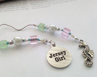 Beaded Bookmark Girlfriend Gift- New Jersey Girl Charm Silver Seahorse Beach Summer Shore Book Thong Reading Lover NJ State Pink Green Glass