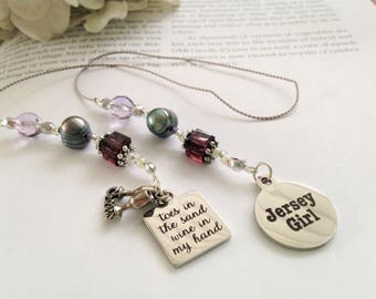Beaded Bookmark Girlfriend Gift- New Jersey Girl Charm Silver Happy Hour Wine Lover Beach Summer Shore Book Thong Reading Lover NJ State