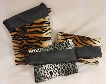 Faux fur and Vinyl fold over clutch bag
