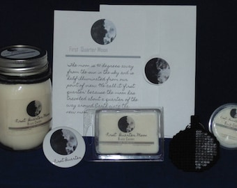 Moon Phase Gift Set, FIRST QUARTER MOON, Soy Candle, Wax Melts, Moon Key Chain, Birthday Card, Button Pin