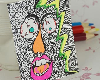 Metallic Ink Abstract Crazy Face Bubble Pattern Drawing ACEO with Multi Bright Colors Original Art Card