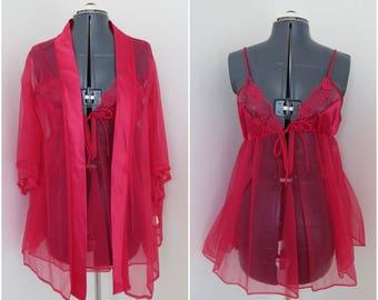 Vintage 1970s Pink Lingerie Set - Slip Robe Panties - 3 Piece Peignoir Set - Deadstock with Tags by Erica Loren