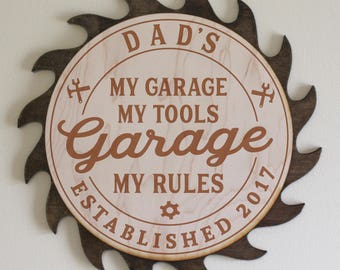 In Time for Christmas/Dad's-Grandpa's-Personalized-GARAGE Sign-My Garage My Tools My Rules-Engraved Wood Sign-Dark Stain Saw Blade
