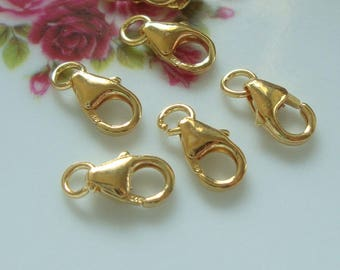 bulk 50 pcs, 5x11mm, 18k Gold on 925 Sterling Silver Oval Trigger Clasp with Ring