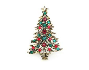 Hollycraft Rhinestone Christmas Tree Brooch - Red Rhinestones, Green Rhinestones, Gold Tone, Vintage Brooch, Vintage Jewelry