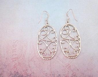 Gold Oval Dangles -- Gold Line Earrings -- Filigree Oval Earrings -- Gold Swirl Dangle Earrings -- Long Gold Oval Earrings -- Loose Filigree