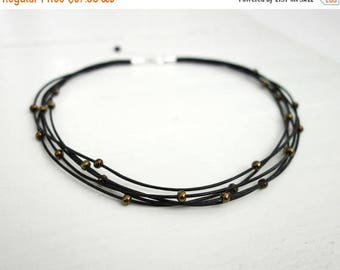 Summer Sale Layered leather necklace bronze beads necklace statement choker necklace black leather choker for women
