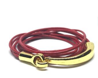 Leather Bracelet, Wrap Leather Bracelet, Leather Wrap, Leather Jewelry, Friendship, Boho Jewelry, Gift for Her, Triple Wrap, Beaded Bracelet
