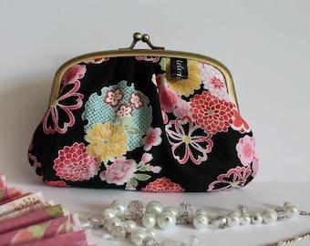 Black pink & blue metal frame coin purse - Miyuki