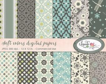 65%OFF SALE Soft colors digital paper, floral digital paper for commercial use, scrapbook paper, vintage paper, P67