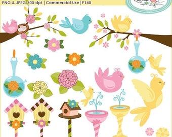 65%OFF SALE Birds clipart, birdhouse clip art, spring clipart, bird on branch clipart, nest clipart,  fountain clipart, commercial use clipa