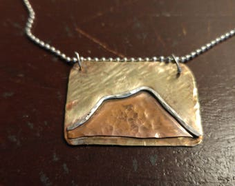 Mountain necklace in 3 metals
