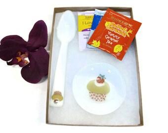 Tea Set, Fused Glass, Glass Spoon, Tea Bag Holder, Birthday Gift, Tea Lovers Gift, Cupcake Design, Spoon Rest, Yellow
