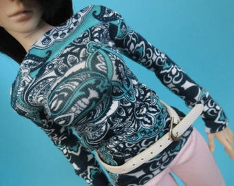 Blue Print Wide Neck Shirt for MSD SD+ Ball Jointed Doll