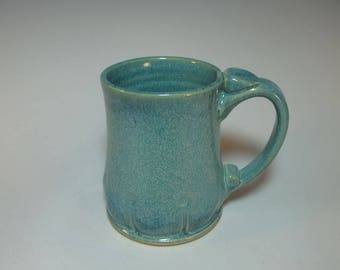 Frosty Blue Green 16 ounce Stoneware Mug with 4 Finger Handle - In Stock