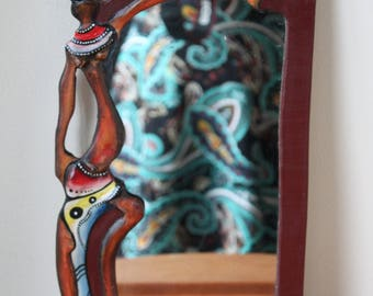 Vintage African Hand Carved Wood Framed Mirror, Tribal, Souvenir, Boho Chic, Bohemian Home Decor