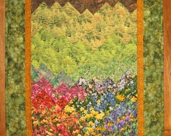 Tahoe Summer Art Quilt Fall Trees, Flowers and Mountains, Fabric Wall Hanging, Landscape Textile Art 26 x 53""