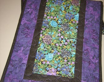 "Quilted Table Runner, Paisley Turquoise, Purple Green, Modern Contemporary Reversible 13 x 47"" Free Shipping"