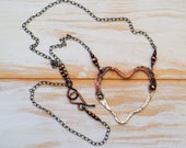 Torn and Tattered, but Mended Heart Sterling Silver and Copper Necklace