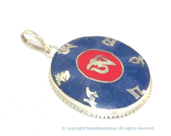 Special Sale Price - Tibetan om mantra prayer pendant with lapis coral inlay - PM165E
