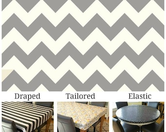 Oilcloth aka laminated cotton heavyweight tablecloth pick fitted by TAILORING or fitted by ELASTIC or DRAPED, gray and ivory chevron