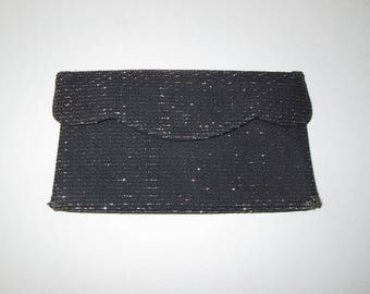 Vintage 1950s Clutch Purse / 50s Black Lurex Clutch Purse / 50s Black Clutch Purse