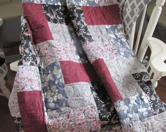 Rose and Black Throw Quilt
