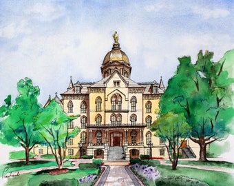 University of Notre Dame -  Pen and Watercolor - 8x10 PRINT