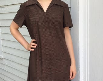 60s Brown Polka Dot Dress Vintage 18 XL Plus AS IS Costume Theater