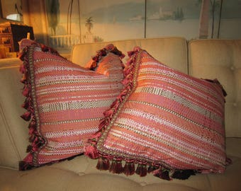 "SCALAMANDRE Salmon Mixed Woven Mitered  20x20"" Pillow Covers With Amazing Fringe STUNNING"
