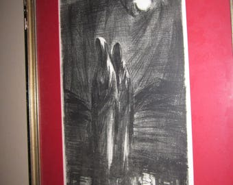 Daughters of Water and Moonlight - Signed and Dated Original Etching
