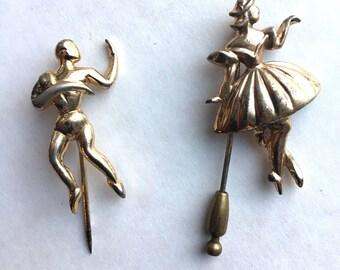 Pair of Mid Century Modern Sterling Silver Dancer Stick Pins