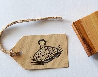 Celia the Roosting Hen Olive Wood Stamp