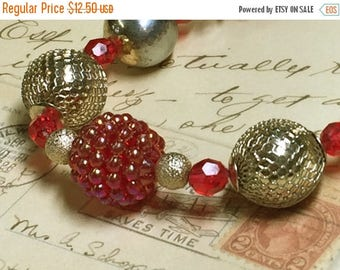 ON SALE Chunky Choker Beaded Necklace - Red Raspberry and Brass Mesh Beads - Vintage Recycled Beads - Kids Photo Prop - Holiday Choker -R82