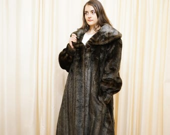 Vintage Gina Scaldi Milano Long Faux Fur Coat Designed in Italy