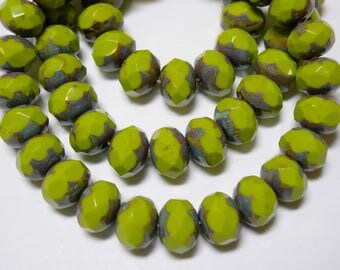 25 8x6mm Avacado Green Travertine  Czech Fire polished Rondelle beads