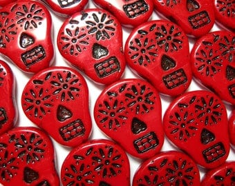 Czech glass Sugar Skull Beads - Red with Black - 4 beads - 20mm x 17mm