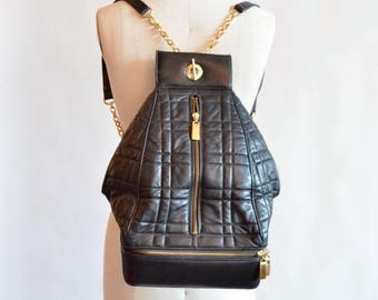 25% off Storewide // SALE / Vintage QUILTED leather statement backpack