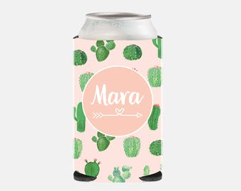 Pink Bridesmaid Gift Cactus Personalized Maid of Honor Gift Ideas Pink Wedding Favors Wedding Can Cooler Bachelorette Party Gift Ideas