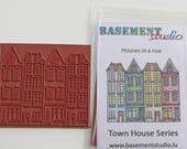 Row Of Houses Rubber Stamp