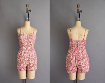 Alix of Miami vintage 1950s pink floral cotton swimsuit. vintage 50s dress