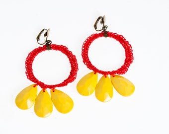 Clip on Hoop Earrings Colorful Summer Earrings for her, Statement jewelry red and yellow dangle earrings