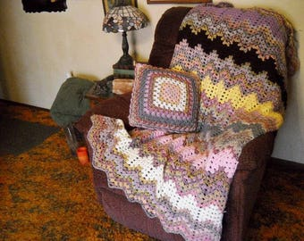 Crochet Afghan blanket with Matching Pillow