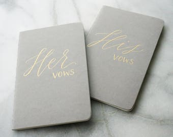 Calligraphy Vow Books Gray and Gold - Set of 2 His and Her Vows