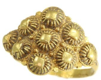 ON SALE Rare Antique Ring - 18th Century filigree high alloy yellow gold ring Baroque ca.1797 Netherlands