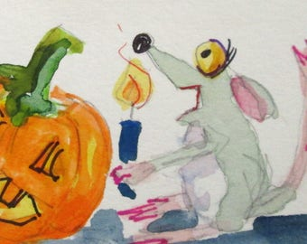 Mouse and Pumpkin aceo original artist trading card miniature watercolor painting Art by Delilah
