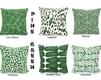 Green White Pillow Covers Decorative Throw Pillows Cushions Pine Green Tan Brown Slub Canvas Couch Bedroom Pillows Mix & Match Various Sizes
